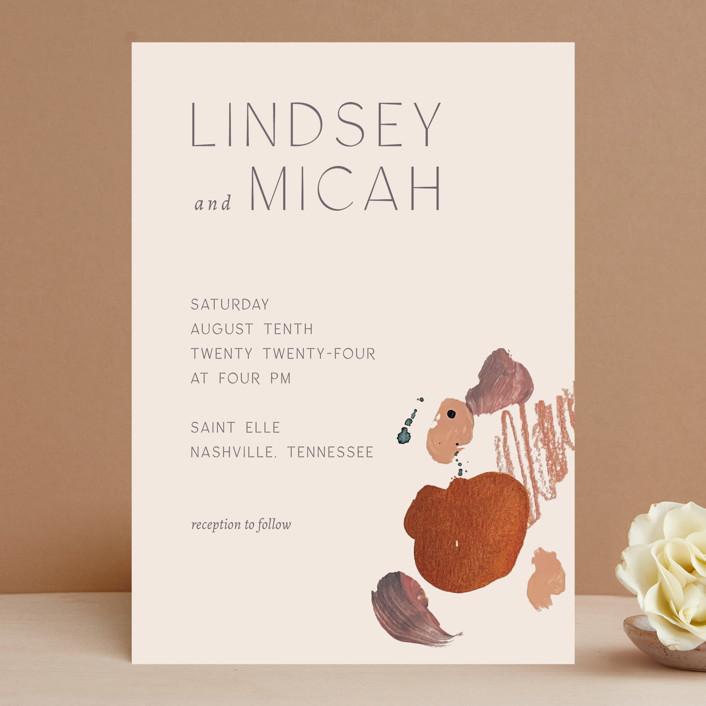 """Painted Sands"" - Modern Wedding Invitations in Terracotta by Chelsea Petaja."