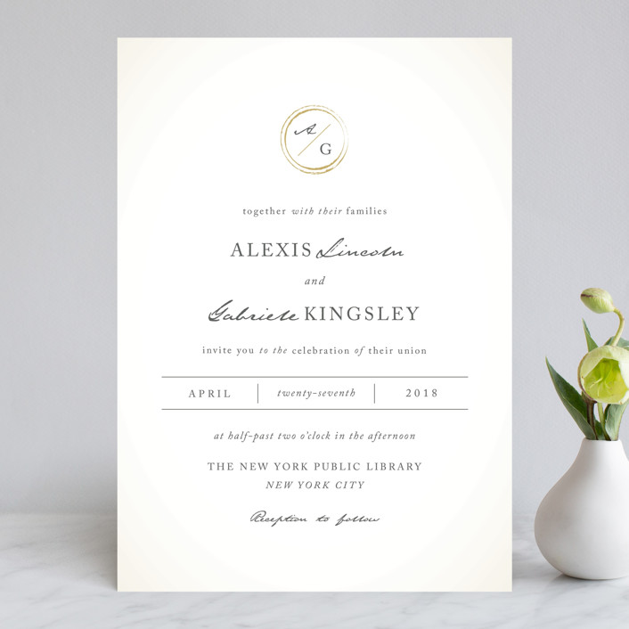Monogram Circle Stamp Wedding Invitations by fatfatin Minted