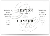 This is a grey wedding invitation by Sandra Picco Design called Elegant Initials with standard printing on signature in standard.