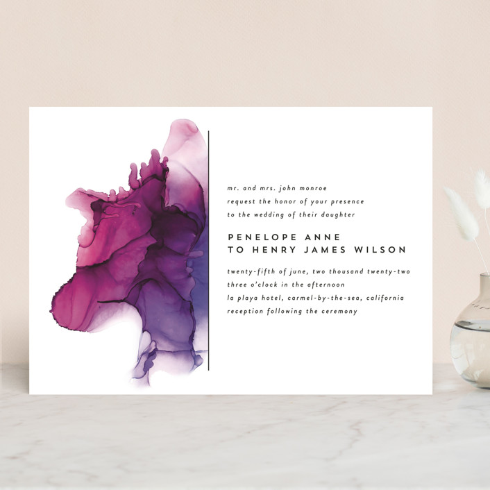 """saturated"" - Modern Wedding Invitations in Plum by Erin Deegan."