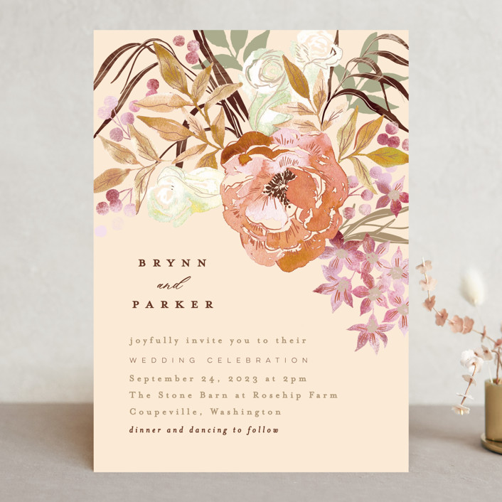 """""""Fall Floral"""" - Wedding Invitations in Mauve by Alethea and Ruth."""