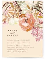 This is a yellow wedding invitation by Alethea and Ruth called Fall Floral with standard printing on signature in standard.