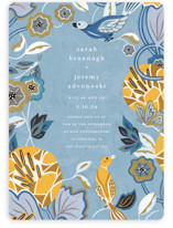 This is a blue wedding invitation by Morgan Ramberg called The Love Birds with standard printing on signature in standard.