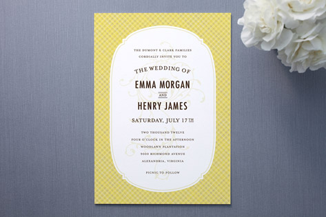 Vintage Picnic Basket Wedding Invitations