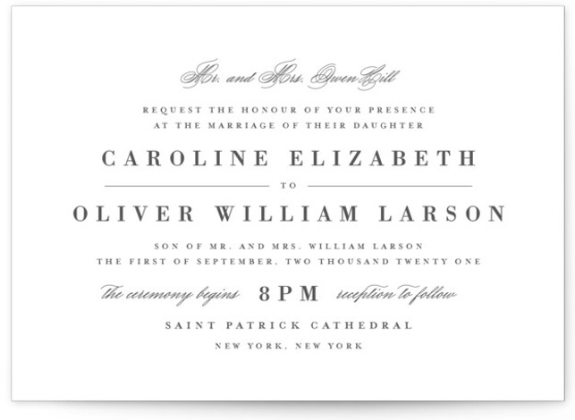 This is a landscape classic and formal, grey Wedding Invitations by Lauren Chism called At Last with Standard printing on Signature in Classic Flat Card format. This design uses timeless type and makes room for traditional wording. Inspired by the ...