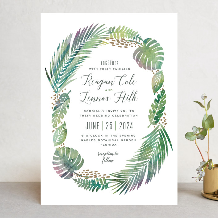 """Tropical Foliage"" - Wedding Invitations in Fern by Hooray Creative."