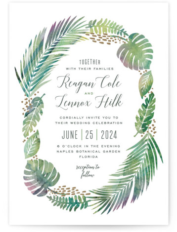 This is a portrait botanical, illustrative, green Wedding Invitations by Hooray Creative called Tropical Foliage with Standard printing on Signature in Classic Flat Card format. A unique illustration of lush tropical foliage paired with modern type!