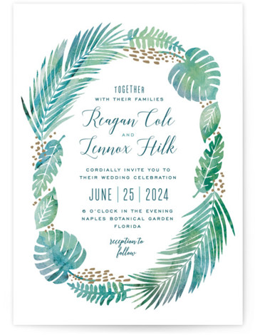 This is a portrait botanical, illustrative, blue Wedding Invitations by Hooray Creative called Tropical Foliage with Standard printing on Signature in Classic Flat Card format. A unique illustration of lush tropical foliage paired with modern type!