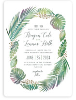 This is a green wedding invitation by Hooray Creative called Tropical Foliage with standard printing on signature in standard.