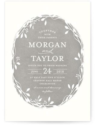 Vintage Wreath Wedding Invitations
