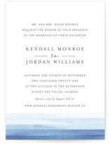 This is a blue wedding invitation by Bethan called Watercolour Stripe with standard printing on signature in standard.