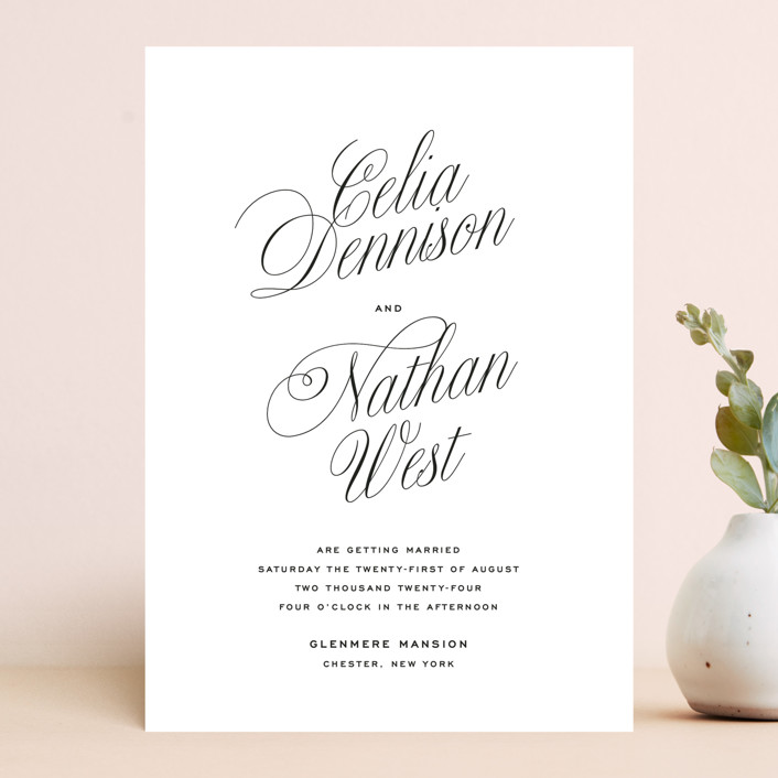 """""""Stacked Script"""" - Wedding Invitations in Classic by Olivia Kanaley Inman."""