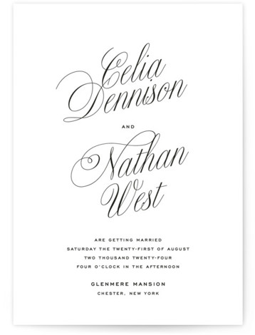 Stacked Script Wedding Invitations