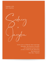 This is a orange wedding invitation by Cass Loh called stylist script with standard printing on signature in standard.