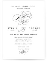 This is a black wedding invitation by Kimberly FitzSimons called Du Jour with standard printing on signature in standard.