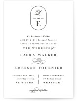 This is a white wedding invitation by Hooray Creative called Monogram a la Mode with standard printing on signature in standard.