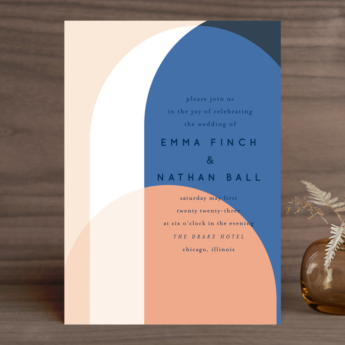 """Color Arch"" - Modern Wedding Invitations in Aquatic by Baumbirdy."