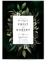 This is a green wedding invitation by Susan Moyal called Forest Finds with standard printing on signature in standard.