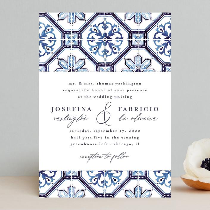 """watercolor azulejo"" - Bohemian Wedding Invitations in Azure by Anastasia Makarova."