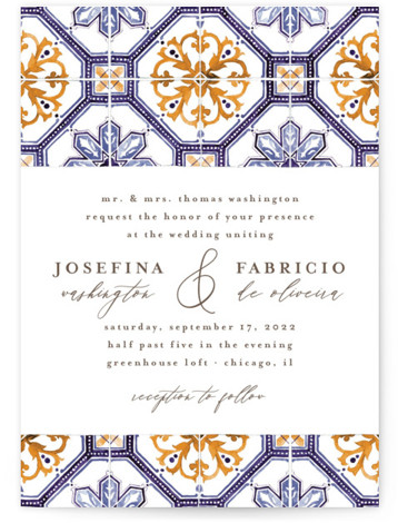 This is a portrait bohemian, blue, yellow Wedding Invitations by Anastasia Makarova called watercolor azulejo with Standard printing on Signature in Classic Flat Card format. Design with hand drawn watercolor background. Great choice for thematic national weddings and destination celebrations. ...
