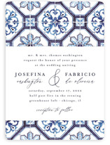 This is a blue wedding invitation by Anastasia Makarova called watercolor azulejo with standard printing on signature in standard.