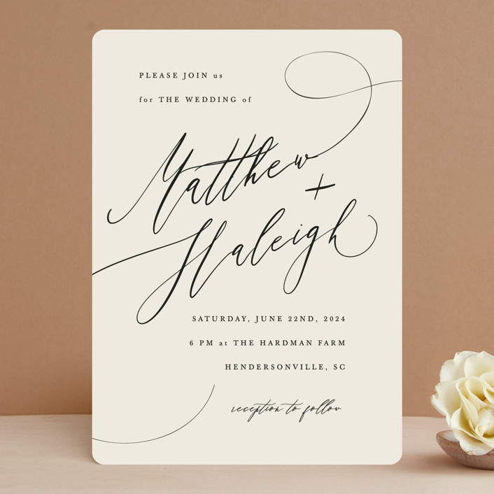"""""""Tilted Script"""" - Wedding Invitations in Ivory by Hannah Williams."""