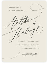 This is a white wedding invitation by Hannah Williams called Tilted Script with standard printing on signature in standard.