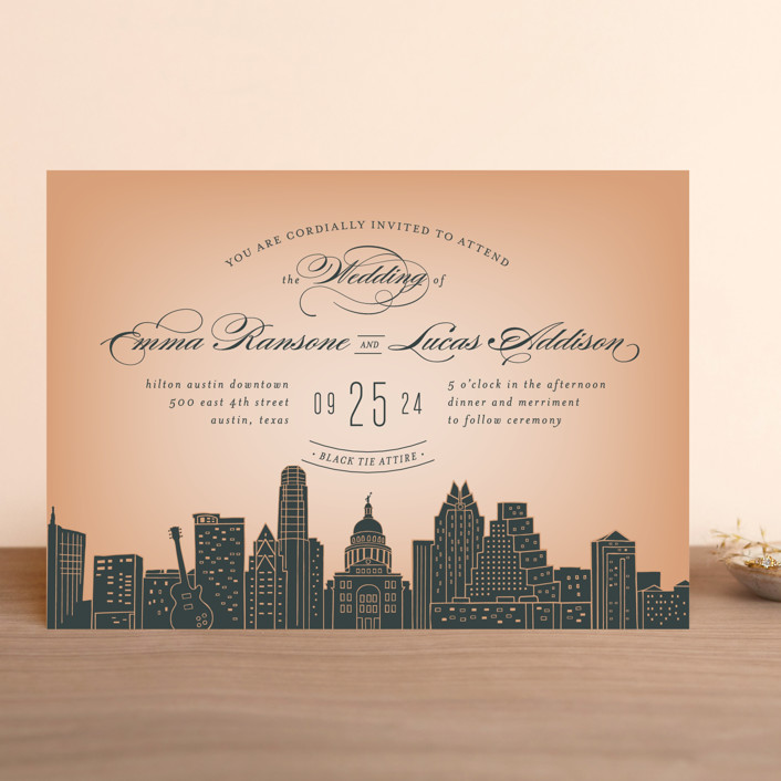 """Big City - Austin"" - Wedding Invitations in Peach by Hooray Creative."