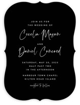 This is a black wedding invitation by Lea Delaveris called In this together with standard printing on signature in standard.