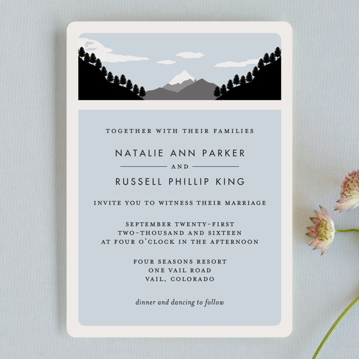 holiday mountain rustic wedding invitations in winter by kampai designs - Mountain Wedding Invitations