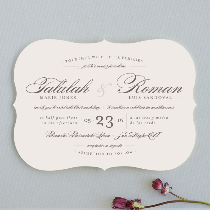 """Love Language"" - Wedding Invitations in Warm Slate by Pistols."