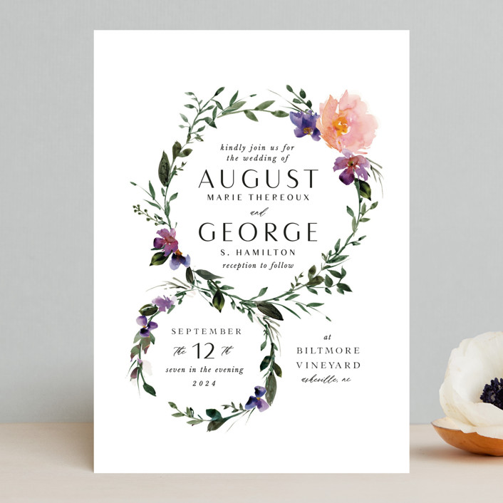 """""""Garlands"""" - Wedding Invitations in Lavender by Lori Wemple."""