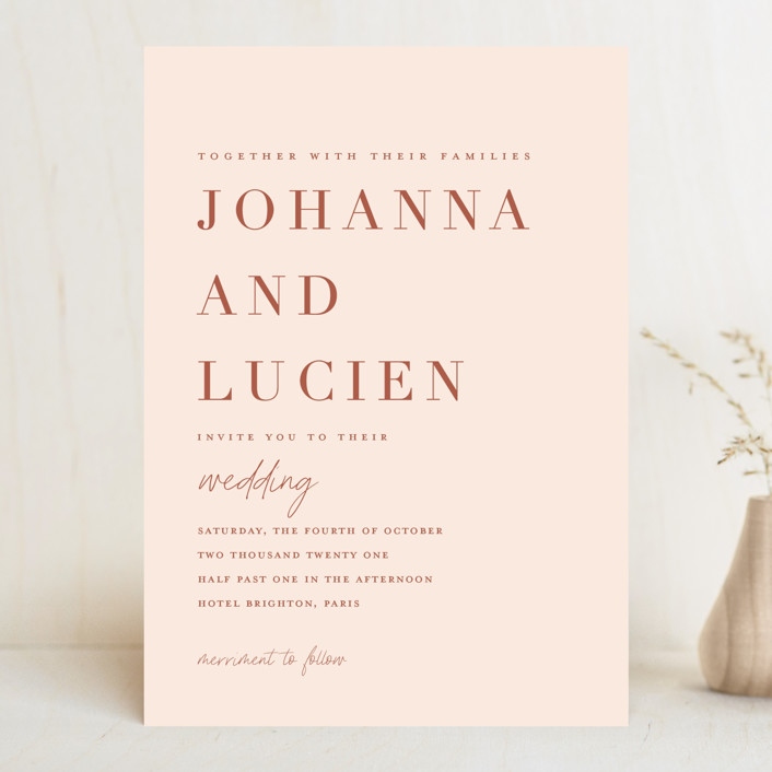 """Classic refresh"" - Wedding Invitations in Peaches by Stacey Meacham."