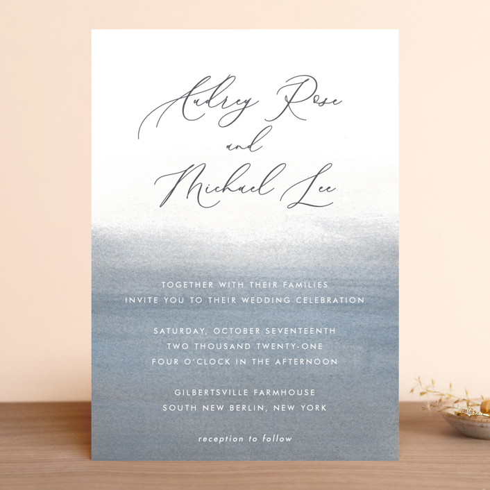 """Romantic Watercolor"" - Wedding Invitations in Mist by Sparkvites."