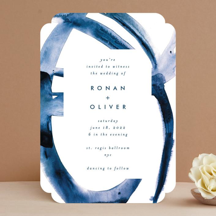"""Wedded Watercolor"" - Wedding Invitations in Ocean by Mary Gaspar."