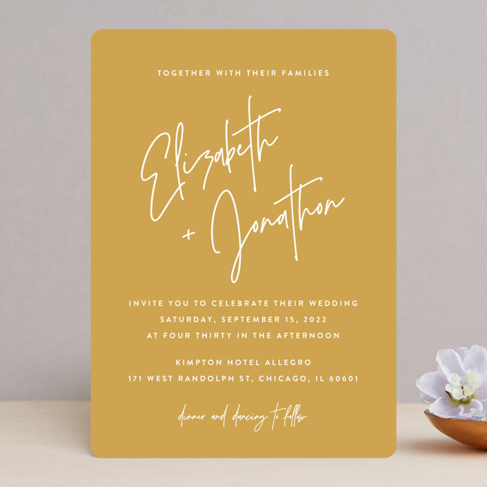 """""""Marked"""" - Wedding Invitations in Mustard by JoAnn Jinks."""
