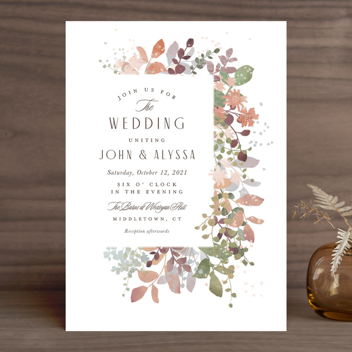 """Wesleyan Hill"" - Wedding Invitations in Wildflower by Jennifer Wick."