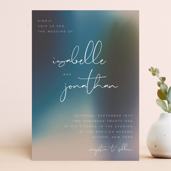 """Mystique"" - Wedding Invitations in Ocean by Lisa McLean."