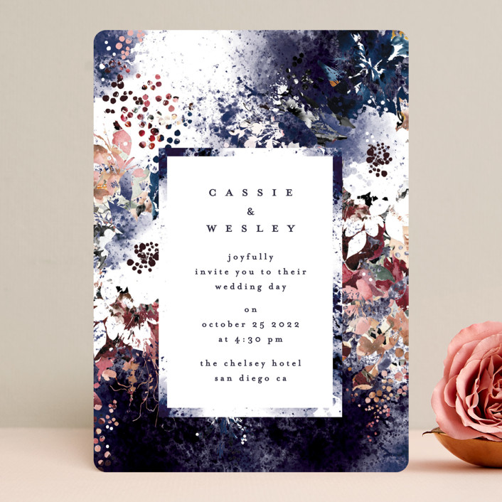 """Floral Cascade"" - Wedding Invitations in Navy by Phrosne Ras."
