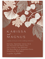 This is a brown wedding invitation by Alethea and Ruth called Leaf Cascade with standard printing on signature in standard.