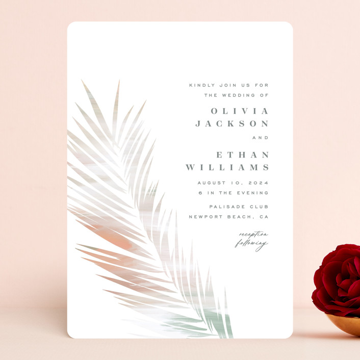 """""""Painted Leaves"""" - Bohemian Wedding Invitations in Coconut by Owl and Toad."""