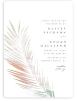 This is a white wedding invitation by Owl and Toad called Painted Leaves with standard printing on signature in standard.