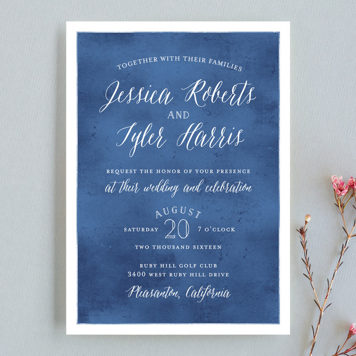 paint swatch wedding invitations in sapphire by jill means - Watercolor Wedding Invitations
