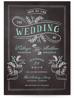 Floral Chalkboard Wedding Invitations