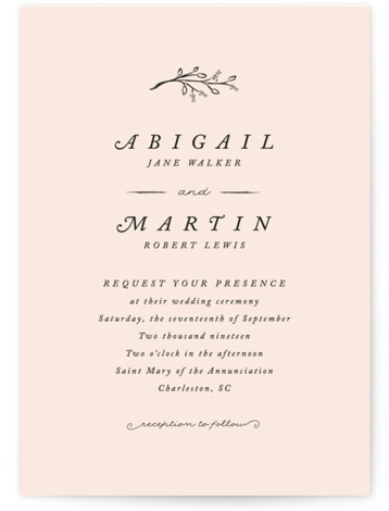 This is a portrait botanical, simple and minimalist, pink Wedding Invitations by Stacey Meacham called Storybook Romance with Standard printing on Signature in Classic Flat Card format. This romantic wedding invitation features whimsical hand drawn natural elements and serif type ...