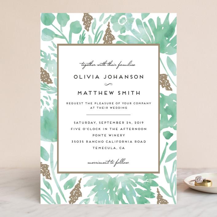 """Watercolor Delight"" - Floral & Botanical Wedding Invitations in Aqua by Petra Kern."