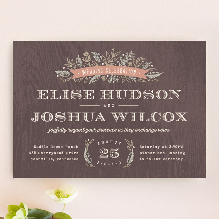 """Woodland Romance"" - Rustic, Floral & Botanical Wedding Invitations in Walnut by Hooray Creative."