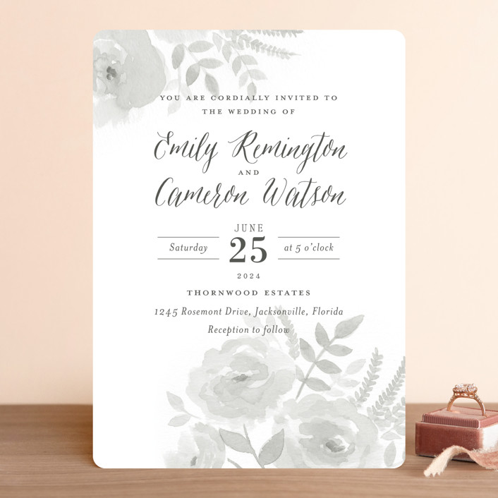 """Watercolor Floral"" - Wedding Invitations in Fog by Jill Means."
