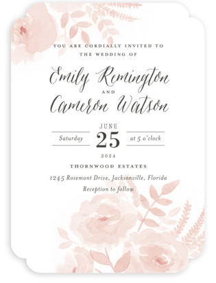 Watercolor wedding invitations minted watercolor floral wedding invitations by jill means junglespirit Image collections