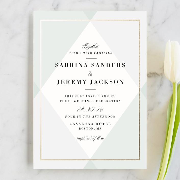 """Creme Brulee"" - Elegant, Classical Wedding Invitations in Mint by chocomocacino."